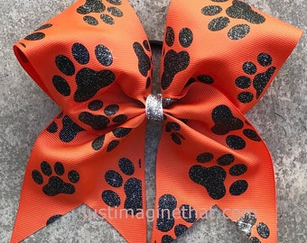 "3""x7""x7"" Paw Print Cheer Bow Tiger Print Orange Black"
