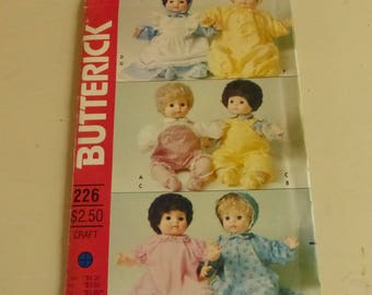 Vintage Butterick Pattern 226  Doll Clothes for 16 Inch Baby Doll  Factory Fold