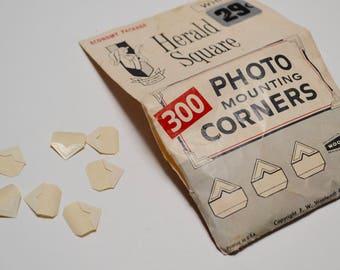 vintage photo corners / photo mounts, Walgreens Harold Square, white
