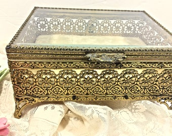 Ormolu Brass and Beveled Glass Jewelry Casket Trinket Box French Nouveau