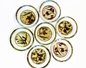 Glass Tuscan Barware Coasters Set of 7, Heavy Glass Coasters Italian Olives Pattern Cork Bottoms,