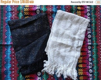 SALE Black or Cream Gold and Silver Threaded Scarves - Vintage 70s