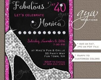 High Heels Birthday Party Invitation Printable Invitation Elegant Chic 30th Birthday 40th Birthday 50th Birthday Party Invitation Woman Heel
