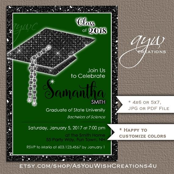 unique graduation party invitation bling cap glitter party