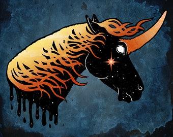 Fire Star Unicorn - Unicorn Art - Print - Free shipping