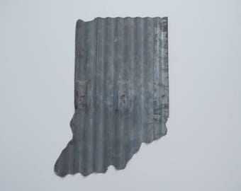 Reclaimed Vertical Galvanized Indiana Wall Art - made from reclaimed barn metal