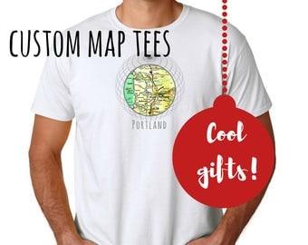 Outdoors Gift, Stocking Stuffer Man- Husband Gift- Custom Map T-shirt- Travel Gift Him- City Map Gifts Men- Gifts for Boyfriend Outdoors Tee