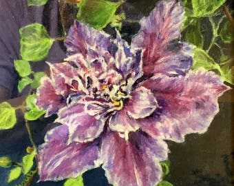 """Fine Art 8 X 8 Print of my Original Oil Floral Painting """"Clematis"""""""