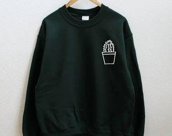 MIDYEAR SALE Cactus pot dark green sweatshirt