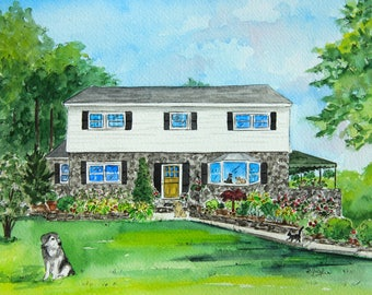 Custom Home Painting for Anniversary Gift, House Painting from Photo for Parents of Bride Gift, Custom House Portrait for First Anniversary