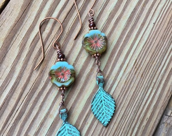 Leaf and Flower Earrings Leaf Jewelry Flower Jewelry Turquoise Earrings Turquoise Jewelry Bohemian Jewelry Made in USA Cute Earrings