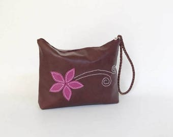 ON SALE Boho Chic Leather Bag with Wrist Strap, Trendy Bag with Flower Design, Fashion Trendy Pouch, Casual Cosmetic Purse, Cosmos