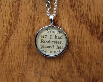 Mr. Rochester - Jane Eyre Book Page Literary Necklace - Charlotte Bronte