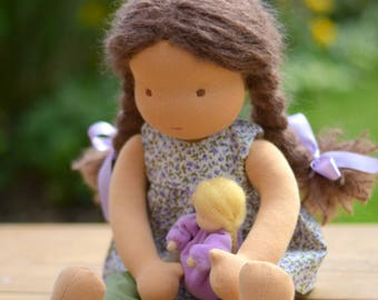 "Waldorf Doll 16"", brown hair, Blossom ( Made to order)"