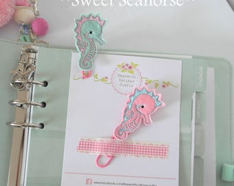 Seahorse planner paper clip charm Embroidery kikkik diary star fish sea creatures
