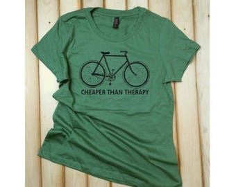 Sale Bicycle T-Shirt, Bike Tee, Bicycle TShirt, Bicycle Shirt, Bike TShirt, Bike Shirt, Cheaper than Therapy, Funny Bike Shirt, Cycling Shir