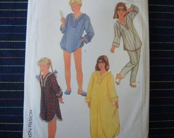 vintage 1980s Simplicity sewing pattern 7197 girls pajamas and nightgown in two lengths size large 12-14