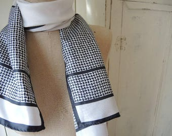 Vintage acetate scarf black and white classic  13 x 44 inches