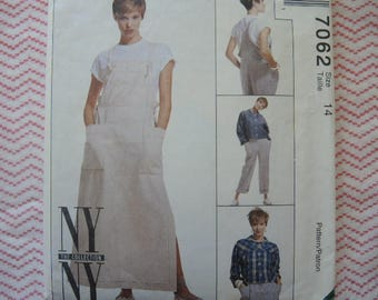 vintage 1990s sewing pattern McCalls NY NY the collection unlined jacket jumper and overalls  size 14