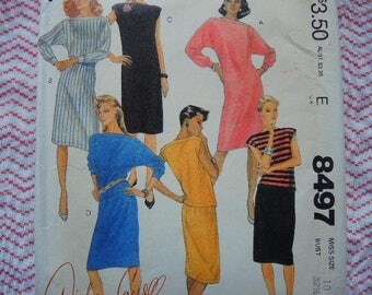 vintage 1980s McCalls sewing pattern 8497 misses dress or top and skirt for stretch knits only size 10