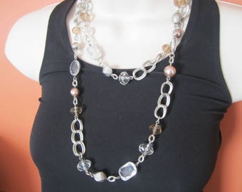 Loft Beaded chain necklace, vintage bead and chain necklace, hippie