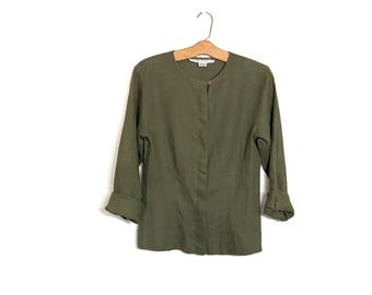 Vintage Linen Jacket Ann Taylor 90's Linen Blouse Minimalist Shirt Slouchy Olive Green Fitted Top 80's Blouse Hippie Boho Clothing Small A1
