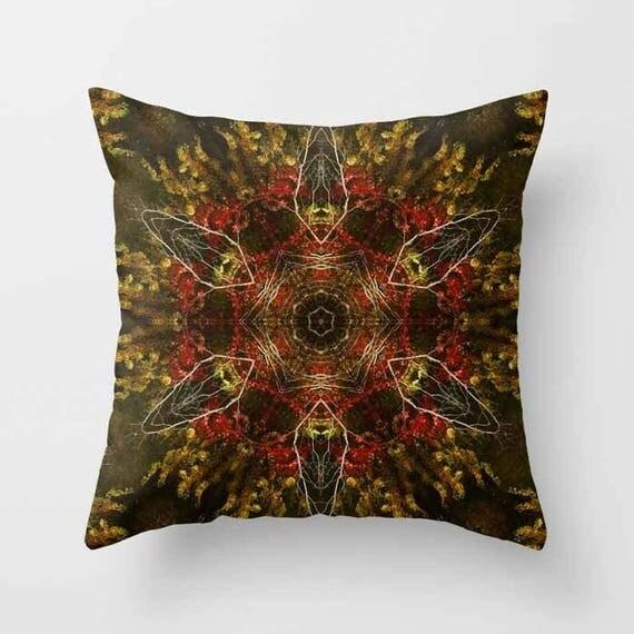Autumn Kaleidoscope Throw Pillow, Throw Pillow, Photography, Outdoor Pillows, Rustic Decor, Housewarming Gift, Pillow Covers, Nature Lover