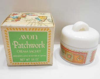 Vintage Avon Patchwork Cream Sachet (18-D)