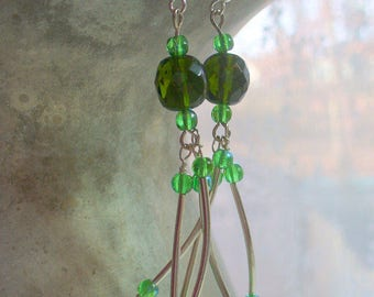 Green Glass Long Dangle Earring, Green Glass Beads, Fashion Earrings, Sterling Silver Jewelry, Womens Jewelry, Handmade