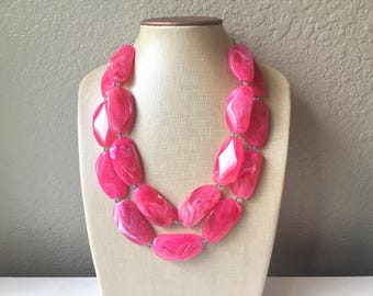 Big Bead pink Necklace - Double Strand Statement Jewelry - magenta blush Chunky bib bridesmaid or everyday bubble jewelry