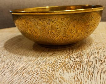 Brass ornate bowl, vintage 1970s, made in India.