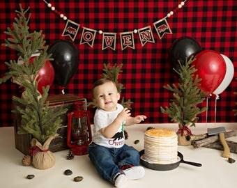 Lumberjack First Birthday Banner - 1st birthday boy - Lumberjack baby shower - Highchair banner - First birthday boy - First birthday banner