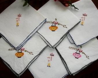 Napkins, Lot of 6 napkins, Shabby chic, Asian linen napkins, Asian table setting, Asian table linens, Cross stitched napkins, Tea napkins