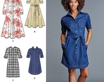 UNCUT Misses' Dress Sewing Pattern Simplicity 8014 Size 6-8-10-12-14-16-18-20-22-24 Shirtdress, Plus Size, Collared Dress
