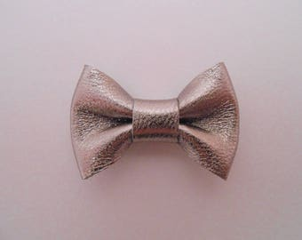Mini leather knot genuine 2 x 3 cm pewter color