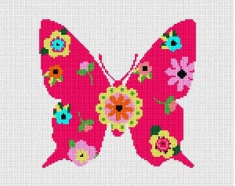 Needlepoint Kit or Canvas: Butterfly Art Deco