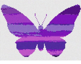 Needlepoint Kit or Canvas: Ombre Butterfly Purple