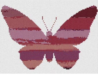 Needlepoint Kit or Canvas: Ombre Butterfly Earth Tones