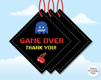 Pac-man Favor Tags, Pacman Favors, Pac-man Party Pacman Thank You Tags, Printable Pac-man Gift Tags, Pac-man Favors, Game Over Thank You Tag