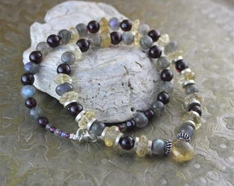 Citrine stone, labradorite, Garnet and silver necklace