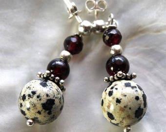Earrings Silver 925 Garnet stones push and Dalmatian Jasper