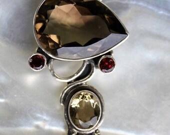 Indian Silver stones pendant smoky natural quartz, citrine, Garnet shantilight