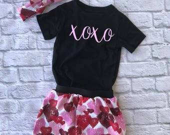 valentines outfit - xoxo shirt - love shirt - valentines day shirt - girls valentines outfit - valentines day skirt