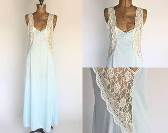 Long Nightgown, Vintage Nightie Lingerie,  Baby Blue Sleepwear, Small Size Nightdress, Floor Length Nylon Negligee