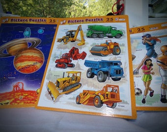 Childrens Educational Toys . Vintage Puzzles. Old Frame Tray Puzzle. Planet's Puzzle. Sports Puzzles. Construction  Vehicle Puzzle's.
