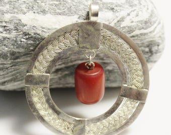 Artisan Pendant Handmade in Ethiopia, African Braided Wire Pendant (AL253)