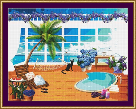 Cat On The Balcony Cross Stitch Pattern /Digital PDF Files /Instant downloadable