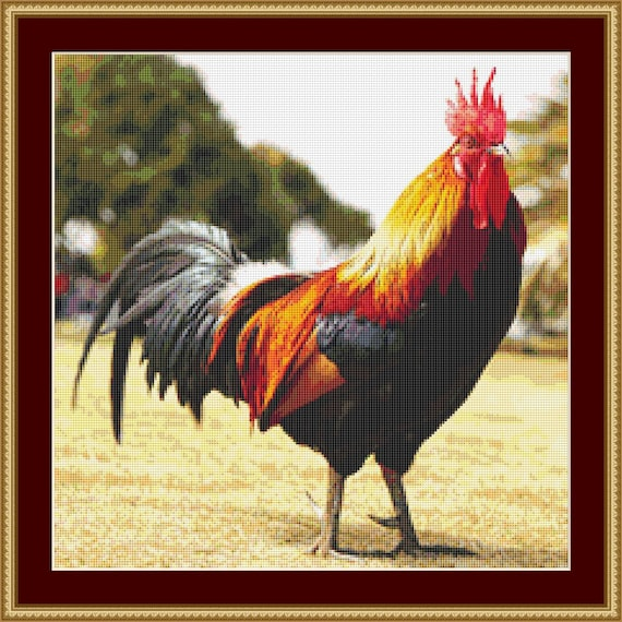 Colourful Rooster Cross Stitch Pattern /Digital PDF Files /Instant downloadable