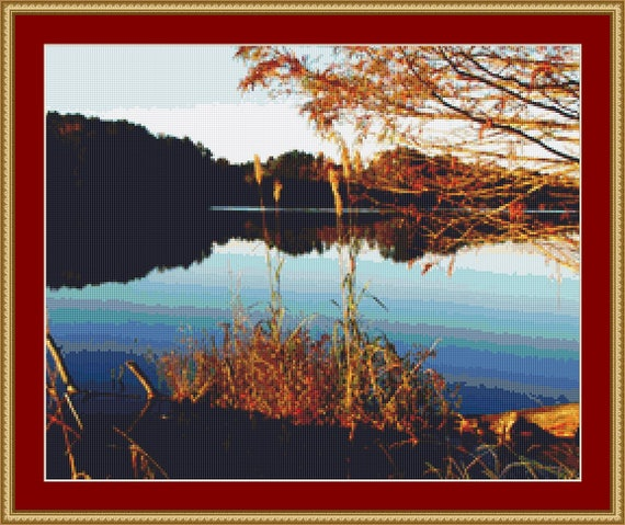 Lakeside Landscape Cross Stitch Pattern /Digital PDF Files /Instant downloadable