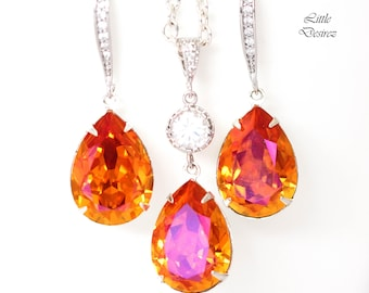 Bridesmaid Jewellery Sets Orange & Pink Jewelry Set Swarovski Crystal Set Earrings and Necklace Set Astral Pink Jewelry Gift Sets AP31JS